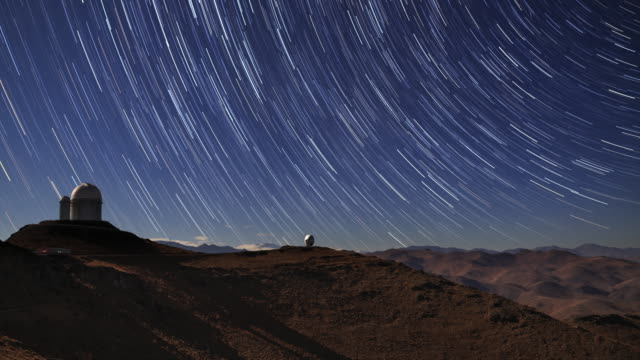 star trails and desert observatory - observatory stock videos & royalty-free footage