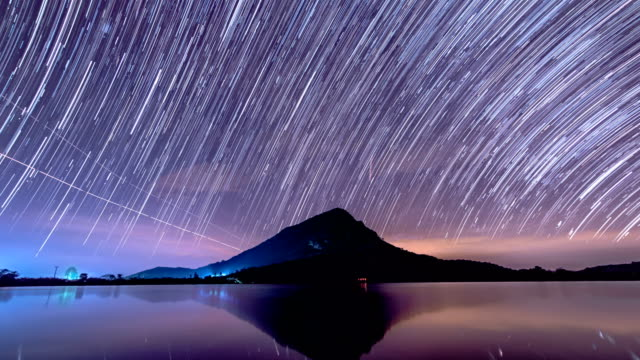 Star Trails moving on mountain and lake in the night.