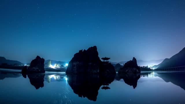 star trails nearby dodamsambong and gazebo at namhangang river - gazebo stock videos & royalty-free footage