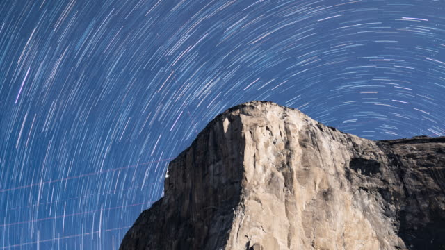 star trails over yosemite valley - yosemite national park stock videos & royalty-free footage
