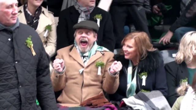 us star wars actor mark hamill joins revelers and poses for photos at the st patrick's day parade in dublin - republic of ireland stock videos & royalty-free footage