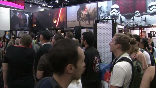 Star Wars displays at Comic Con International in San Diego California US on July 9 2015 Shots of Wide shots and closes ups of Star Wars signage...