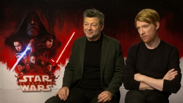 episode the last jedi: junket interview serkis and gleeson; england: london: int andy serkis and domhnall gleeson interview sot - andy serkis stock videos & royalty-free footage