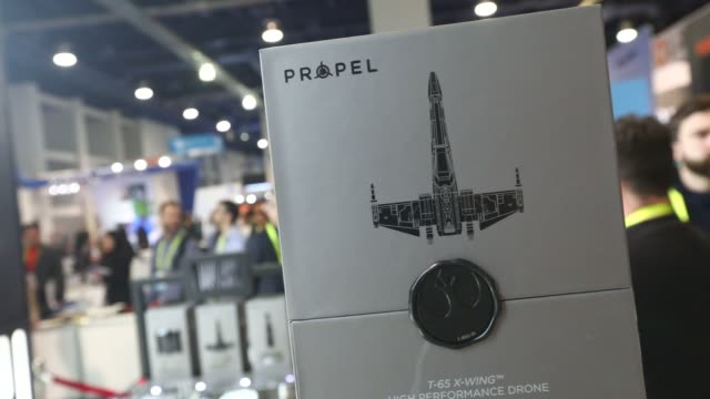 star wars high performance drones produced by propel is demonstrated during the 2017 consumer electronics show in las vegas nevada us on thursday jan... - trade show booth stock videos & royalty-free footage