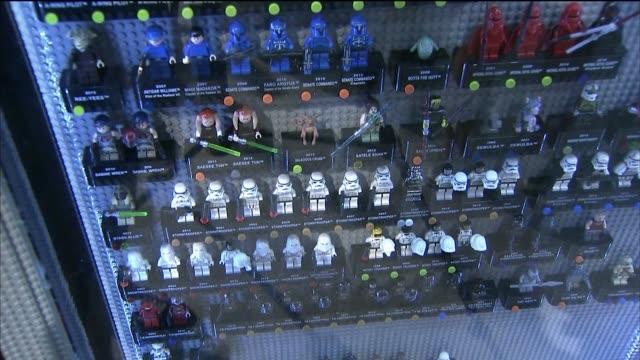 Star Wars Legos on display at Comic Con International in San Diego California US on July 9 2015 Shots Wide shots and close ups of Star Wars legos on...