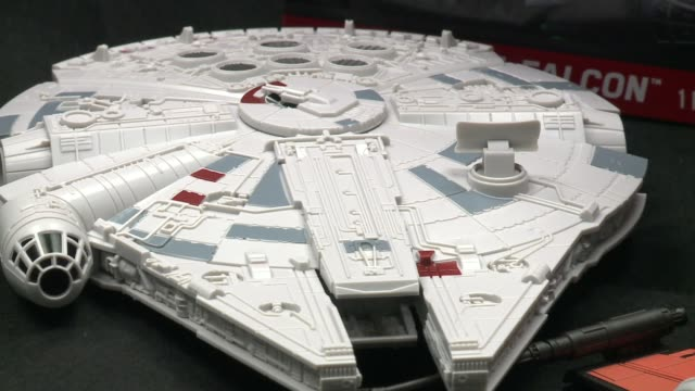 wgn star wars model millenium falcon toy from snaptite kit on september 3 2015 - model kit stock videos and b-roll footage