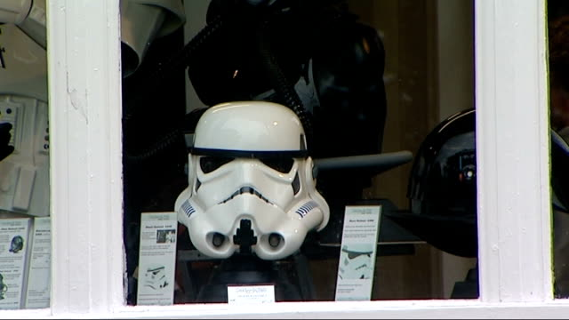 star wars stormtrooper helmet designer wins court case against george lucas interview with andrew ainsworth england london ext exteriors of shop... - shepperton studios stock videos & royalty-free footage