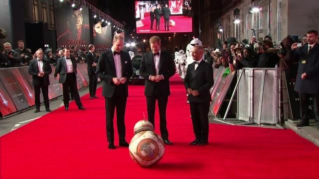 Star Wars 'The Last Jedi' premiere Royal Albert Hall 'Star Wars The Last Jedi' London premiere Prince William Duke of Cambridge and Prince Harry...