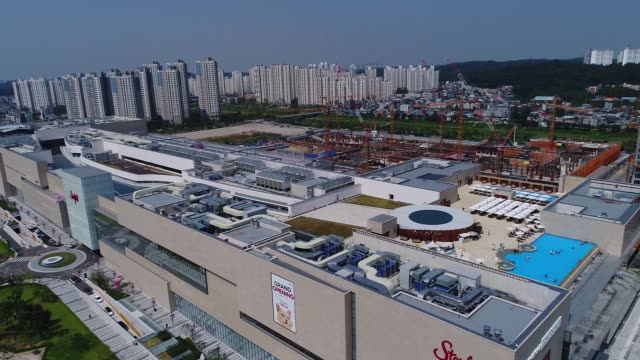 starfield goyang shopping complex operated by shinsegae property inc stands in this aerial video taken above goyang south korea on sunday sept 3 2017 - goyang stock videos and b-roll footage