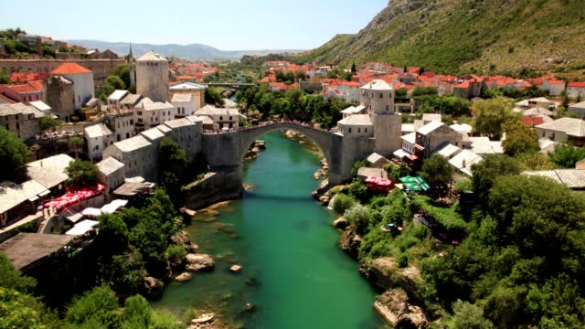 stari most and spring (high angle wiew) - eastern european culture stock videos & royalty-free footage