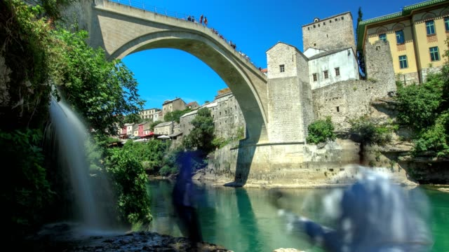 stari most and spring (horizontal slide) - eastern european culture stock videos & royalty-free footage