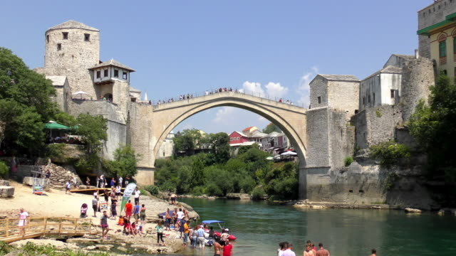 stari most (old bridge) - mostar, bosnia and herzegovina - mos stock videos & royalty-free footage