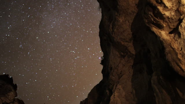 starry night on the coast. view from mountain cave - speleology stock videos and b-roll footage