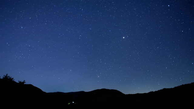 starry night sky over manhangjae hill, hambaeksan national park in gangwon-do - meteor stock videos & royalty-free footage