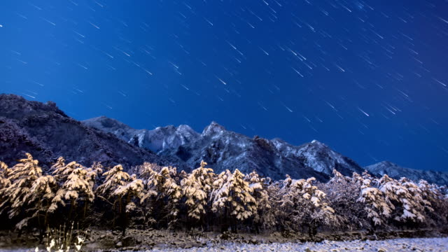 starry night sky over mt.seoraksan national park, south korea - dramatic sky stock videos & royalty-free footage