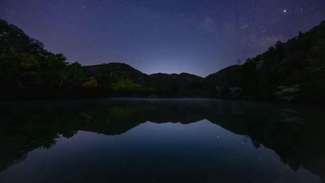 starry night view of seryangji pond in the fog, hwasun - tilt up stock videos & royalty-free footage