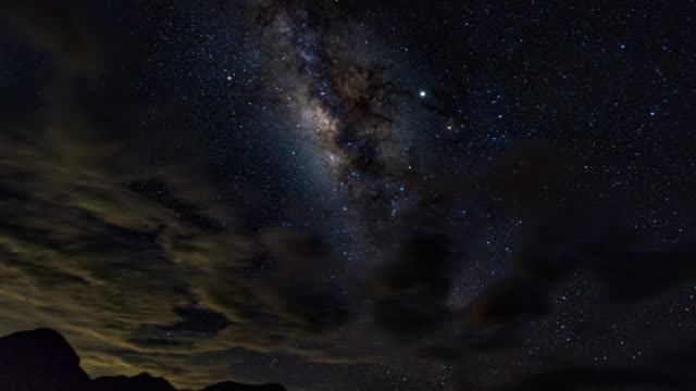 starry sky and milky way galaxy, time-lapse video - crane shot stock videos & royalty-free footage