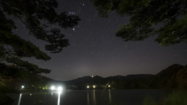 starry sky at the lake side - nagano prefecture stock videos & royalty-free footage