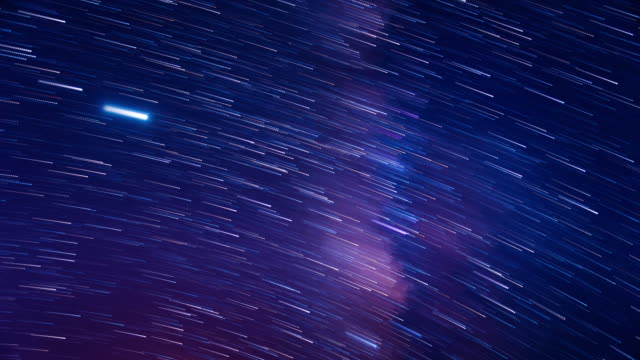 starry sky romantic meteor shower 4k - star trail stock videos & royalty-free footage