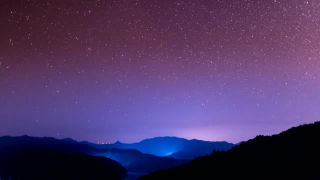 sternenhimmel-szene 4k uhd - sternenspur stock-videos und b-roll-filmmaterial