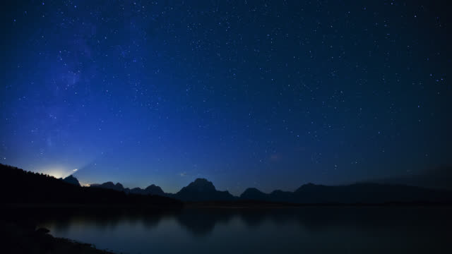 time lapse long wide shot stars and milky way over grand teton and jackson lake at night, wyoming - grand teton stock videos & royalty-free footage