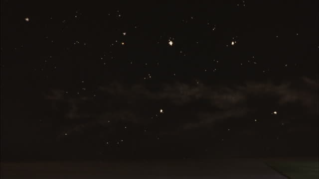 Stars and planets twinkle in a night sky.