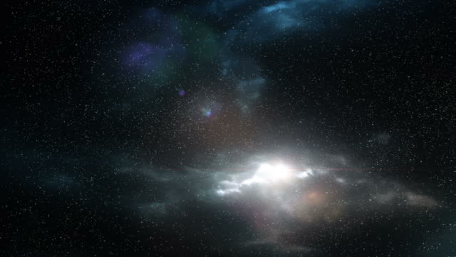 vídeos de stock, filmes e b-roll de stars and prismatic blue and purple lights in front of a galactic cloud - artbeats