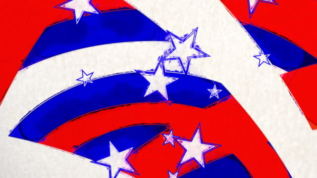 Stars and Stripes animated loop in a painted poster feel