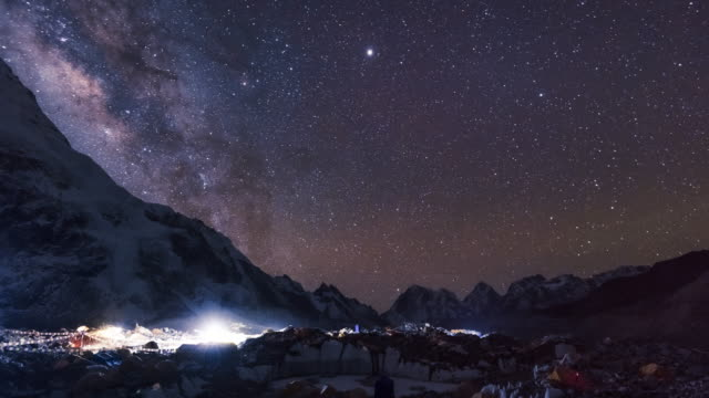 stockvideo's en b-roll-footage met stars and the milky way pass overhead at everest base camp in nepal - mount everest