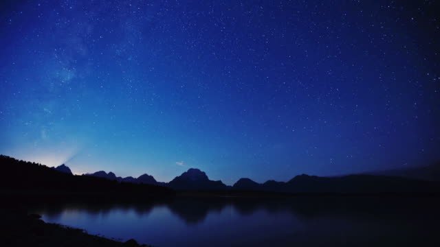 Stars appear to wheel across the sky above Grand Teton National Park, Wyoming.