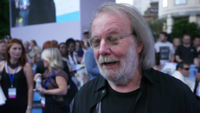 Stars attend the Mamma Mia Here We Go Again world premiere Interviews with Benny Anderson Bjorn Ulvaeus Stellan Skarsgard Amanda Seyfried Dominic...