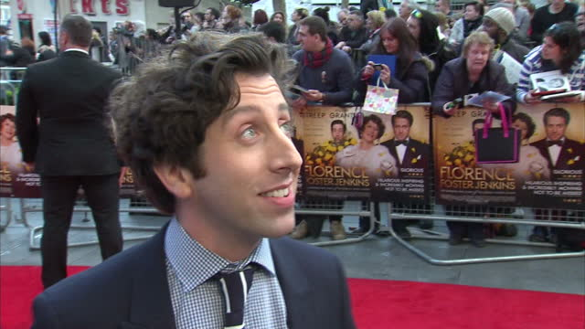 stars attended the london premiere of the biographical comedydrama film `florence foster jenkins' shows actor simon helberg being interviewed - simon helberg stock videos and b-roll footage