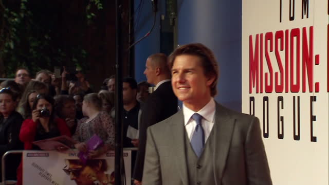 stars from mission impossiblerogue nation attend london premier at the bfi imax shows interior shots tom cruise posing for photographs on the red... - tom cruise stock videos & royalty-free footage
