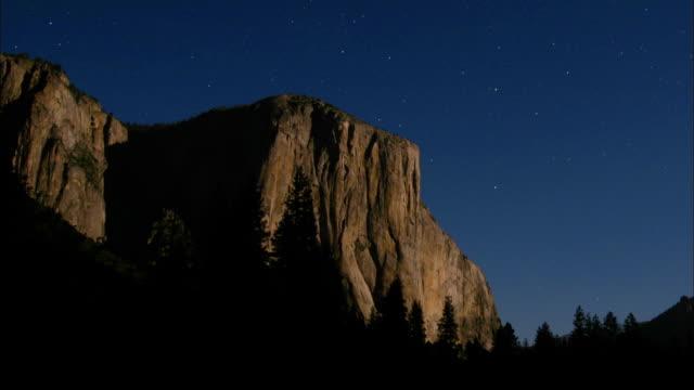 stars migrate across the sky above el capitan in yosemite national park, california. - el capitan yosemite national park stock videos and b-roll footage