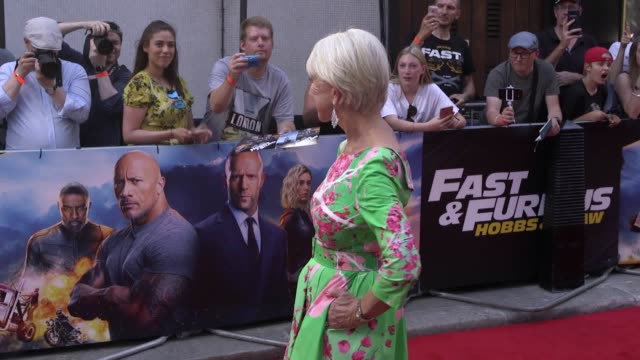 stars of fast & furious presents: hobbs & shaw jason statham, helen mirren, vanessa kirby and idris elba attend a special screening of the action... - helen mirren stock videos & royalty-free footage