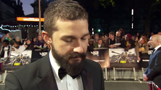 stars of new film fury on the red carpet in leicester square. shows exterior shot shia le beouf answering questions about the preparation for... - shia labeouf stock videos & royalty-free footage