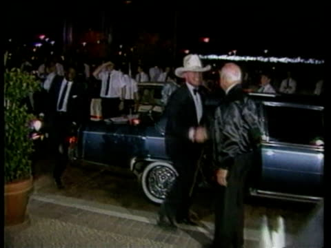 stars of soap opera dallas arriving at gala including actress morgan fairchild, actor larry hagman and his wife maj axelsson, and actress linda gray... - soap opera stock videos & royalty-free footage