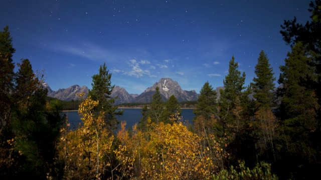 time lapse long shot stars over jackson lake and mount moran with autumn trees in foreground from night to day, wyoming - mt moran stock videos & royalty-free footage
