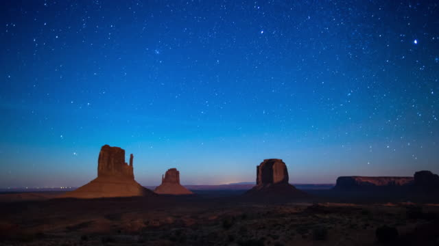 stars over monument valley - time lapse - monument valley stock videos & royalty-free footage