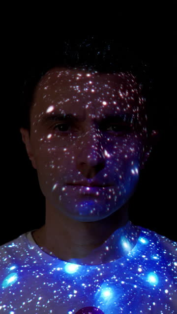 stars projection on a man's face - projection stock videos & royalty-free footage