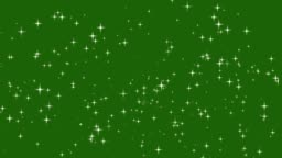 Stars shine effect background on green screen animation. Christmas decoration.