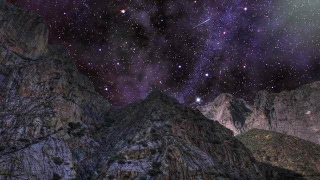 stars shoot across a turning night sky in kings canyon. - digital enhancement stock videos and b-roll footage
