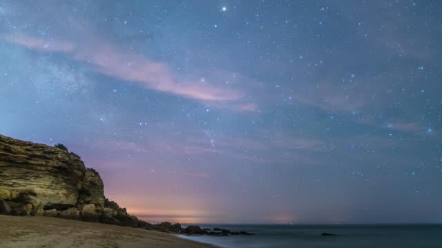 stars time lapse in amazing beach - cádiz stock videos and b-roll footage