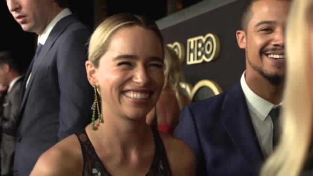 stockvideo's en b-roll-footage met stars walk the hbo emmys after party red carpet after the network's record breaking fantasy epic game of thrones won the coveted best drama series... - emmy awards