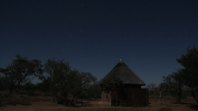 Stars wheel over trees and wooden hut.