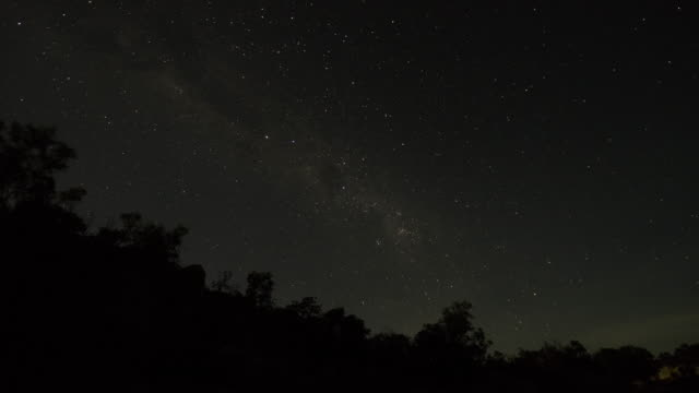 starscape rotates behind a ridge at night - outback stock videos & royalty-free footage