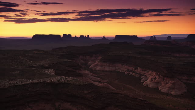 aerial start of a new day in monument valley - exmoor national park stock videos & royalty-free footage