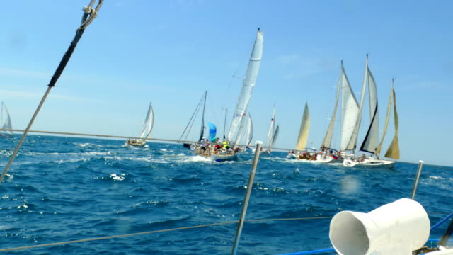 start of a sailing race - cruising stock videos & royalty-free footage