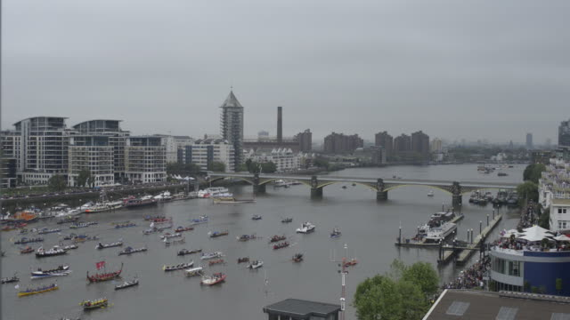 Start of the Diamond Jubilee Flotilla on the River Thames.