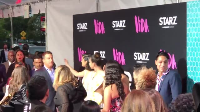 starz held a special red carpet screening premiere of their new show vida the premiere was held at the regal la live cinemas in downtown los angeles - proiezione evento pubblicitario video stock e b–roll